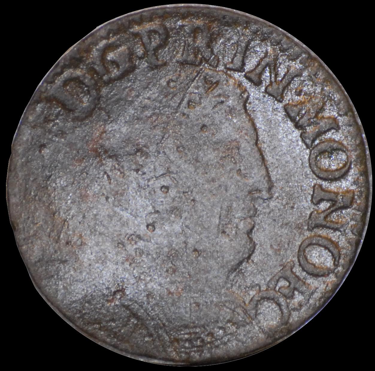 1720 antoine 1er liard de 4 deniers monoec face 1