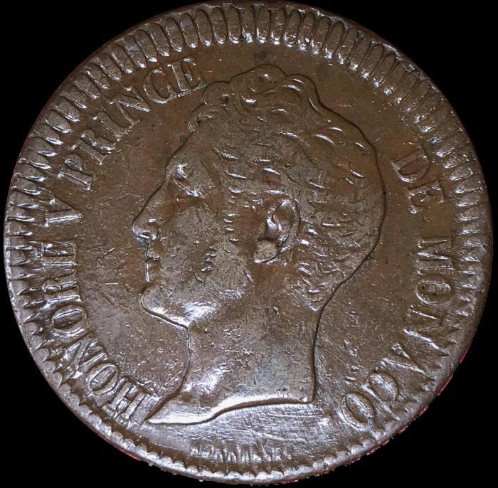 1738 honore v un decime cuivre rouge avers