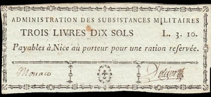 1793 bon necessite monaco fort hrcule 3 livres 10 sols avers